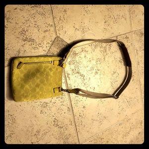 Small Yellow Green COACH purse